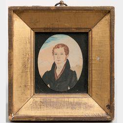 American School, 19th Century      Miniature Portrait of Edwin Adams, Age 20, 1831