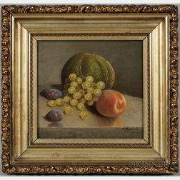 Arnoud Wydeveld (New York, Netherlands, 1823-1888)      Still Life with Fruit on a Stone Table