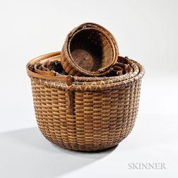Nest of Seven Nantucket Lightship Baskets