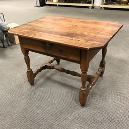 William and Mary Walnut One-drawer Stretcher-base Tavern Table