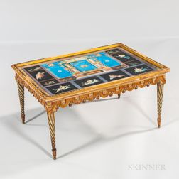 Pompeian Motif Polychrome Painted Low Table