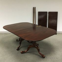 Queen Anne-style Mahogany Double-pedestal Dining Table