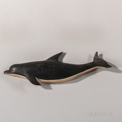 Carved and Painted Wooden Dolphin Plaque