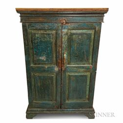 Blue-painted and Paneled Two-door Cupboard