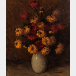 Auguste Tremont (Luxembourger, 1893-1980)      Still Life with Orange and Yellow Flowers
