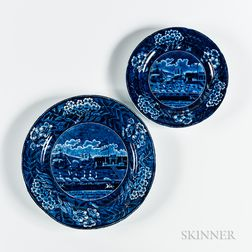 "Two Staffordshire Historical Blue Transfer-decorated ""Landing of Lafayette"" Plates"