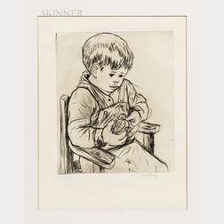 Andre Racz (Romanian American, 1916-1994)      Boy Peeling an Orange