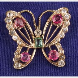 Diamond and Gem-set Butterfly Brooch