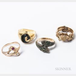 Three Snake Rings and a Stacking Fish Ring