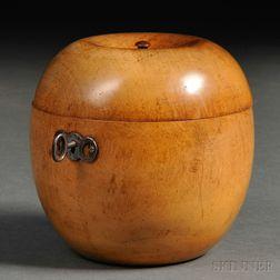 Fruitwood Apple-form Tea Caddy