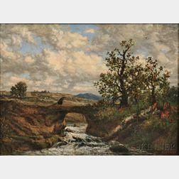 Auguste-Clément-Joseph Herst (French, b. 1825)      Landscape with Peasant Crossing a Bridge