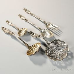 "Five Pieces of Whiting ""Lily"" Pattern Sterling Silver Flatware"