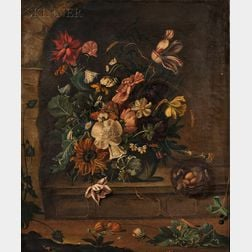 Flemish School, 17th Century Style      Still Life of Flowers and a Bird's Nest in a Stone Alcove