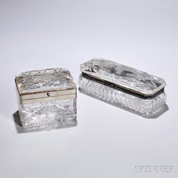 Two Cut Glass Boxes