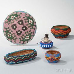 Five Paiute Beaded Baskets