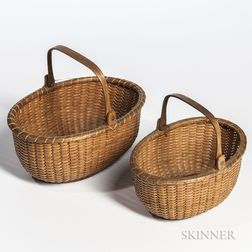 Two Small Oval Nantucket Baskets