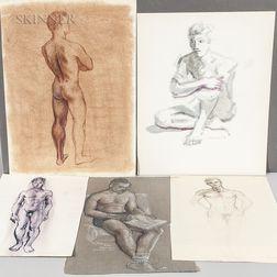 Wynn (Elwyn) Moody Chamberlain (American, 1927-2014)      Eleven Unframed Drawings of Nude Male Figures