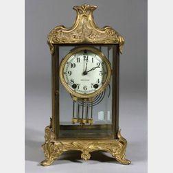 Art Nouveau-style Gilt Metal Mantel Clock