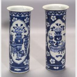 Pair of Blue and White Chinese Export Porcelain Vases