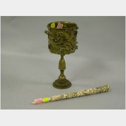 Judith Brown Elisha Bronze Cup and a Carved Ivory Torah Pointer.