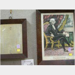 Mahogany Veneer Framed Sarony & Major Lithograph George Washington Portrait and a Small Mahogany Veneer Mirror.