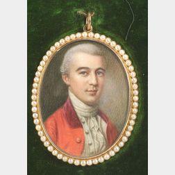 Anglo/American School, 18th Century  Miniature Portrait of Elisha Newell.