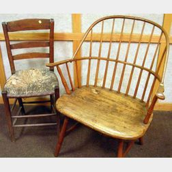 Windsor Ash and Pine Sack-back Armchair and a Primitive Slat-back Side Chair.