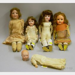 Five German Bisque Dolls