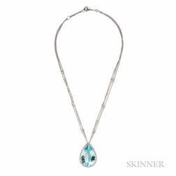 18kt White Gold, Aquamarine, and Diamond Pendant