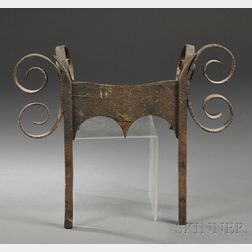 Wrought Iron Bootscraper with Scrolled Strap Decoration