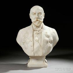 Denys Puech (French, 1854-1942)       White Marble Portrait Bust of the Duc de Loubat