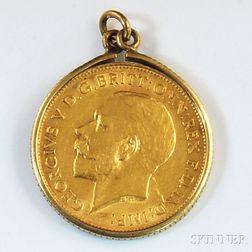 1912 George V Half Sovereign Gold Coin.     Estimate $200-300