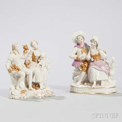 Two Continental Capo di Monte-style Porcelain Figural Groups