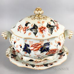 Ironstone Transfer-decorated Covered Tureen and Platter