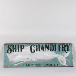 """Painted Wood """"Ship Chandlery"""" Sign"""