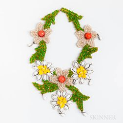 Vintage Lee Menichetti Glass Floral Bib Necklace