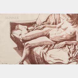 Philip Pearlstein (American, b. 1924)      Nude on Sofa Draped