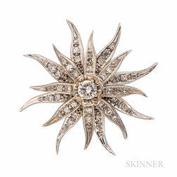 Diamond Sunburst Pendant/Brooch
