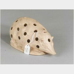 Painted Stoneware Hedgehog-form Crocus Pot, likely England, late 19th/early 20th century,