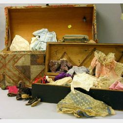 Two Doll's Trunks and Miscellaneous Clothes