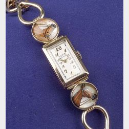 14kt Gold and Reverse Crystal Wristwatch, Abercrombie & Fitch