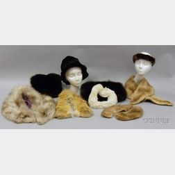 Four Vintage Fox and Mink Collars, Two Black Mink Muffs, Two Fur Headbands, and a   Black Shaved Wool Trilby