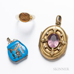 14kt Gold and Enamel Locket Purse Locket, an 14kt Gold Intaglio Ring, and a Low-karat Gold and Amethyst Locket