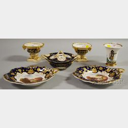 Five English Gilt, Cobalt, and Hand-painted Porcelain Table Items