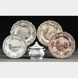 Five Transfer-decorated Staffordshire Pottery Table Items