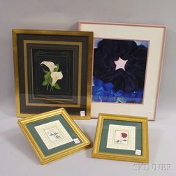 Four Framed Floral Prints