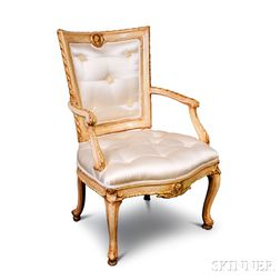 Louis XV-style Carved and Painted Upholstered Fauteuil