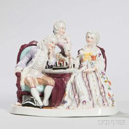 Dresden Polychrome Porcelain Figural Group
