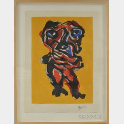 Karel Appel (Dutch, 1921-2006)      Untitled Figure with Gold Background