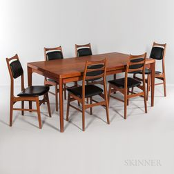 Vejle Stole Mobelfabrik Teak Dining Table and Six Side Chairs